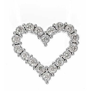0.45 CT. T.W. TruMiracle Diamond Heart Pendant in 14K White Gold (H-I, I1)