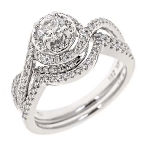 0.95 CT. T.W. Diamond Engagement Ring in 14K White Gold (H-I, I1)