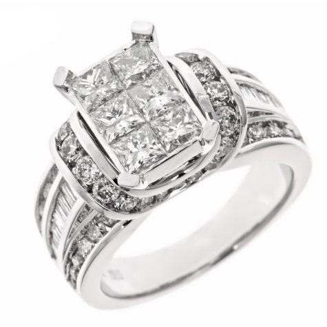 2.95 CT. T.W. Diamond Engagement Ring in 14K White Gold (H-I, I1)