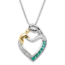 Diamond and Lab-Created Emerald Mother and Child Pendant in Sterling Silver and 14K Yellow Gold