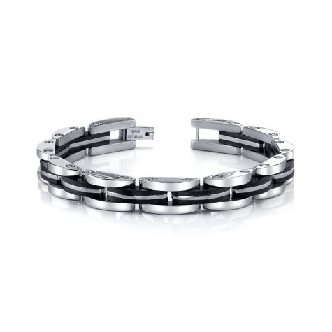 Stainless Steel with Black Ion Plating Accent Men's Bracelet