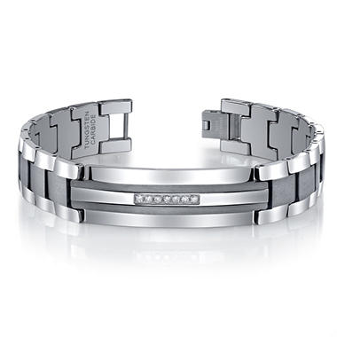 .20 ct. t.w. Diamond, Tungsten Carbide and Stainless Steel Men's Bracelet - 8mm