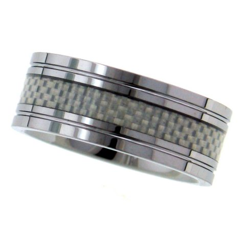 Tungsten and White Carbon Fiber 9mm Men's Band