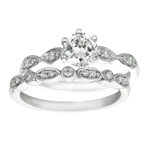 0.70 ct. t.w. Round-Cut Diamond Engagement Set 14k White Gold (I, I1)