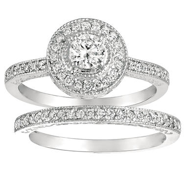 0.60 ct. t.w. Round-Cut Diamond Engagement Set 14k White Gold (I, I1)