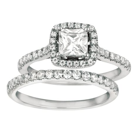 1.25 CT. T.W. Princess-Cut Diamond Engagement Set 14k White Gold (I, I1)