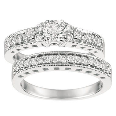 1.10 ct. t.w. Round-Cut Diamond Engagement Set 14K White Gold (I, I1)