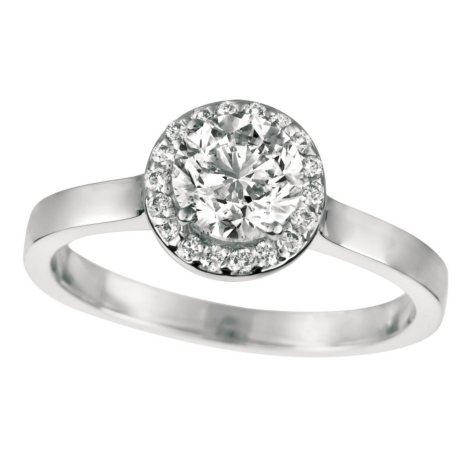0.80 CT. T.W. Round-Cut Diamond Halo Ring 18K White Gold (I, VS2)