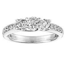 1.00 ct. t.w. Round-Cut Three Diamond Plus Ring 14K White Gold (I, I1)