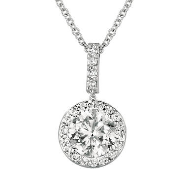 0.80 ct. t.w. Round-Cut Diamond Halo Pendant 18K White Gold (I, VS2)