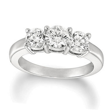 1.50 ct. t.w. Round-Cut Diamond 3-Stone Ring 14K White Gold (I, I1)