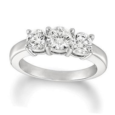 T W Round Cut Diamond 3 Stone Ring 14k White Gold
