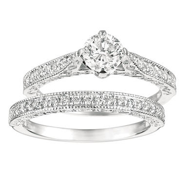 1.00 CT. T.W. Round-Cut Diamond Engagement Set 14K White Gold (I, I1)