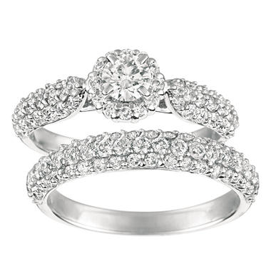1.65 ct. t.w. Round-Cut Diamond Engagement Set 14K White Gold (I, I1)