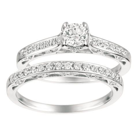 0.70 ct. t.w. Round-Cut Diamond Engagement Set 14K White Gold (I, I1)
