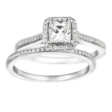 0.80 ct. t.w. Princess-Cut Diamond Engagement Set 14K White Gold (I, I1)