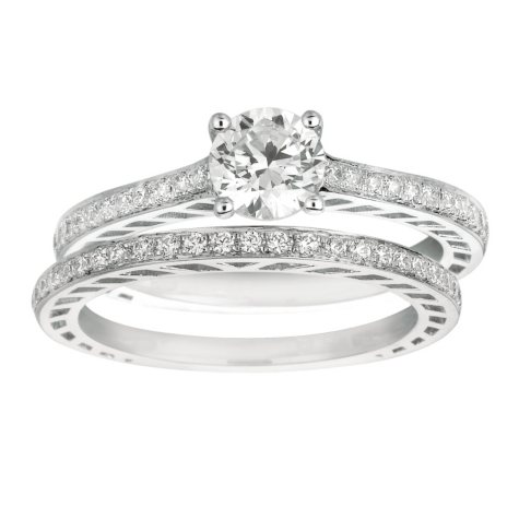 0.85 ct. t.w. Round-Cut Diamond Engagement Set 14k White Gold (I, I1)