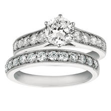 1.65 CT. T.W. Round-Cut Diamond Engagement Set in 14k White Gold (I, I1)