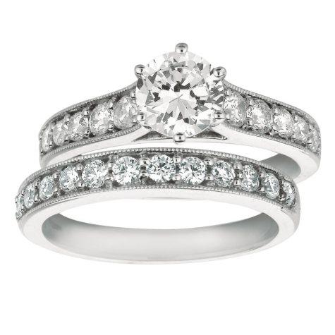 1.65 CT. T.W. Round-Cut Diamond Engagement Set in 14k White Gold (I, I1)