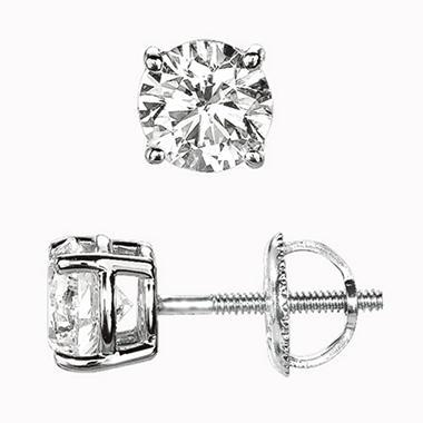 Round Cut Diamond Stud Earrings I Vs2