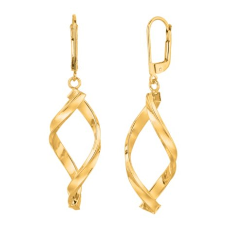 14k Yellow Gold Dangle Drop Free Form Earrings