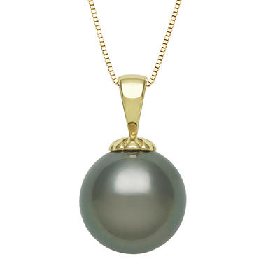 Tahitian Cultured Black Pearl Pendant in 14K Yellow Gold