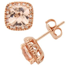 Morganite and 0.15 CT. T.W. Diamond Accent Stud Earrings in 14K Rose Gold