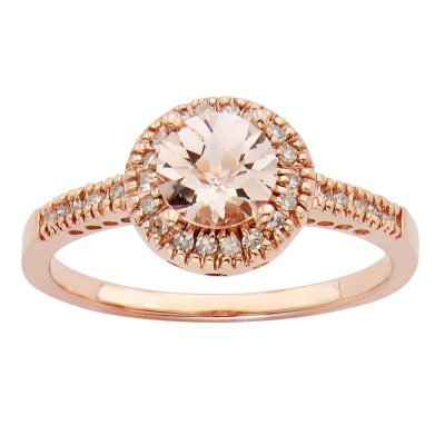 Morganite and 013 CT TW Diamond Fashion Ring in 14K Rose Gold