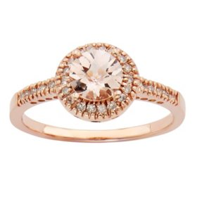 Morganite and 0.13 CT. T.W. Diamond Fashion Ring in 14K Rose Gold