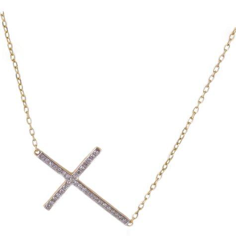 0.18 CT. T.W. Diamond Sideways Cross Necklace in 14K Yellow Gold