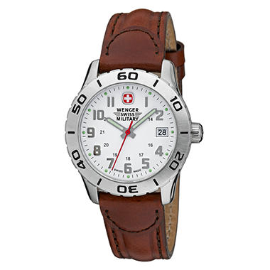 Wenger Swiss Military Grenadier Ladies Watch - White Dial Brown Leather Strap
