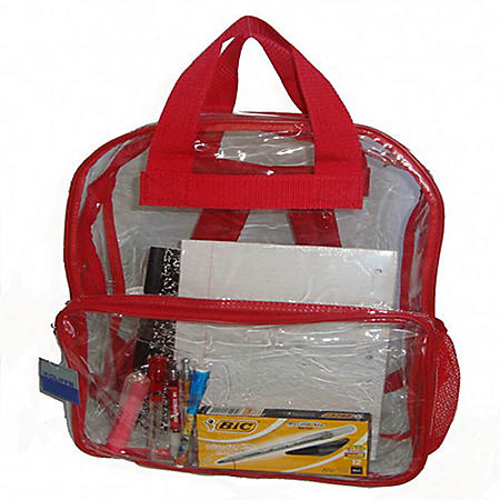 """HV 17"""" Backpacks - Clear with Red Trim - 40 ct."""