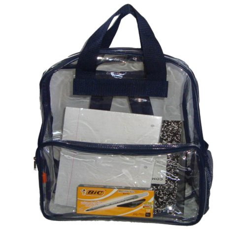 """HV 17"""" Backpacks - Clear with Navy Trim - 40 ct."""