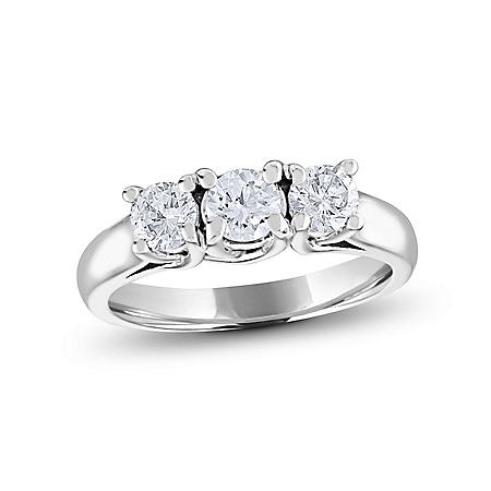 0.96 CT. T.W. Round Diamond 3-Stone Ring in 14K White or Yellow Gold (I, I1)