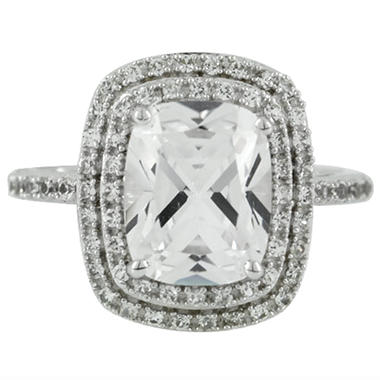 3.22 CT. T.W. Lab-Created White Sapphire Ring in 14K White Gold