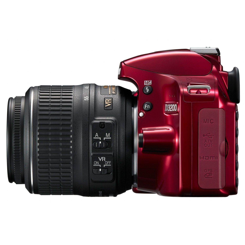 nikon d3200 24 2mp red dslr bundle with 18 55mm vr lens 55 200mm vr