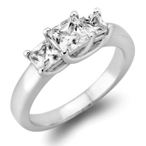1.45 CT. T.W. Princess-Cut Diamond 3-Stone Ring in 14K White or Yellow Gold (H-I, VS2)