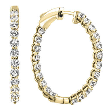 3.45 CT. TW. Diamond Hoop Earrings in 14K White or Yellow Gold (H-I, I1)