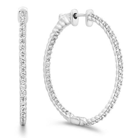 2 CT. TW. Diamond Hoop Earrings in 14K White Gold (H-I, I1)
