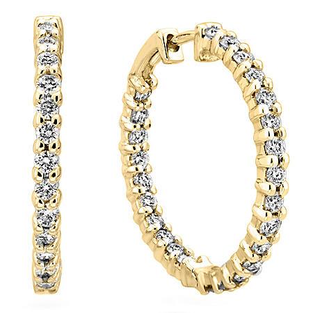 1.45 CT. TW. Diamond Hoop Earrings in 14K Yellow Gold (H-I, I1)