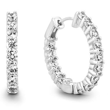 3 CT. TW. Diamond Hoop Earrings in 14K White or Yellow Gold (H-I, I1)