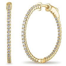 1 CT. TW. Diamond Hoop Earrings in 14K White or Yellow Gold (H-I, I1)
