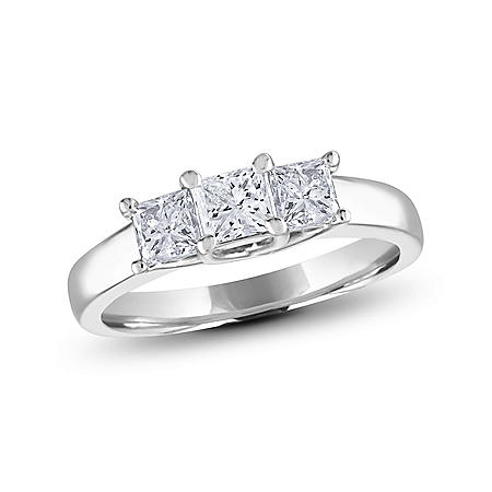 0.96 CT. T.W. Princess-cut Diamond 3-Stone Ring in 14K White or Yellow Gold (I, I1)
