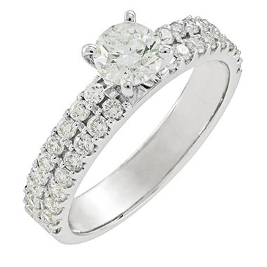 1.01 ct. t.w. Round Cut Diamond Engagement Ring in 14K White Gold (H-I, I1)