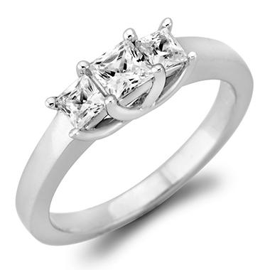 .46 CT. T.W. Princess-cut Diamond 3-Stone Ring in 14K White and Yellow Gold (I, I1)