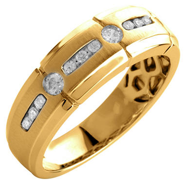0.33 ct. t.w. Round Cut Diamond Gents Band in 14K Yellow Gold (I, I1)