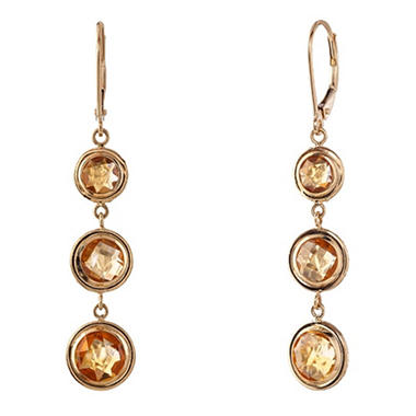 Round Citrine Dangle Leverback Earrings in 14K Yellow Gold