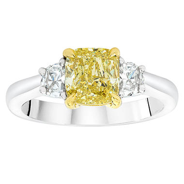 1.46 CT. T.W. Cushion-Cut Fancy Yellow Diamond Ring with Half Moons in Platinum
