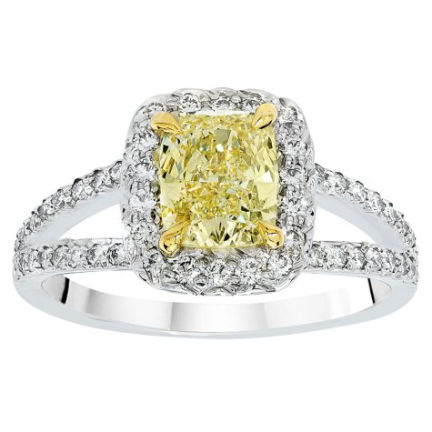 1.75 CT. T.W. Fancy Light Yellow Cushion-Cut Halo Split Shank Diamond Ring in Platinum