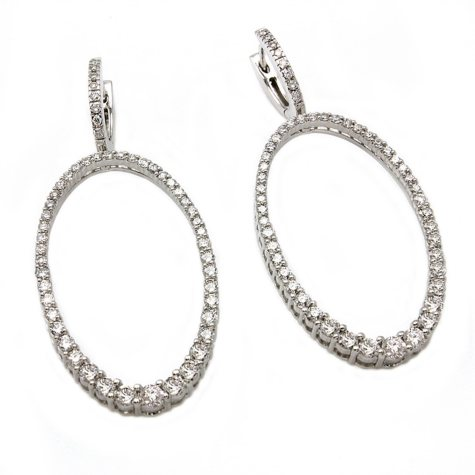 1.50 CT. T.W. Diamond Graduated Oval Hoop Earrings in 14K White Gold (I, I1)